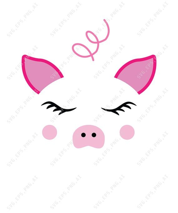 Download Pig Face Svg File, Baby Pig With Flowers Paper Cut Template, Laser Cut Crafter Files