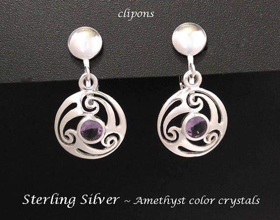 Clip On Earrings: Fabulous Sterling Silver Earrings with Amethyst Color Crystals- *Shop Now* at https://www.etsy.com/shop/EarringsArtisan #SilverEarrings #DangleEarrings #womensfashion #cliponearrings