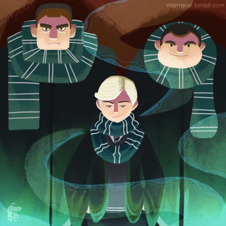 Slytherin - Draco Malfoy, Vincent Crabbe and Gregory Goyle.