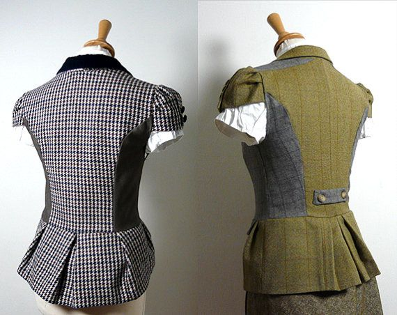 Backview of men's suits refashioned to flatter ladies ~ Etsy