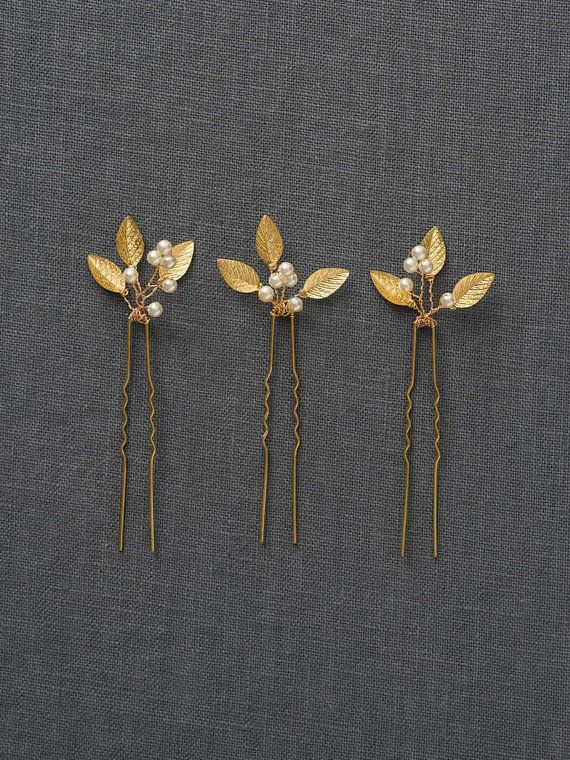 Gold Small Wedding Hair Combs | Gold Wedding Hair Accessories | Gold Leaf Bridal Hair Comb [Adele Hairpin]