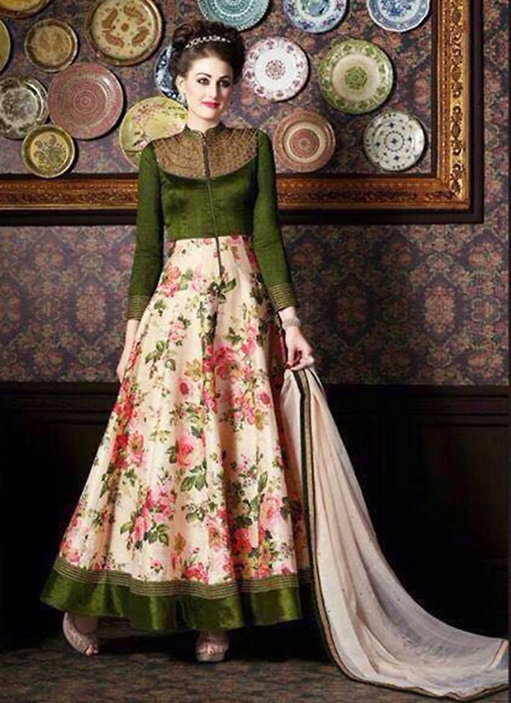 Make the heads turn the moment you costume up in this enticing Olive Green Silk Unstitched Salwar Kameez. The lovely Lace & Printed work a substantial attribute of this attire. Top Details Color - Gre
