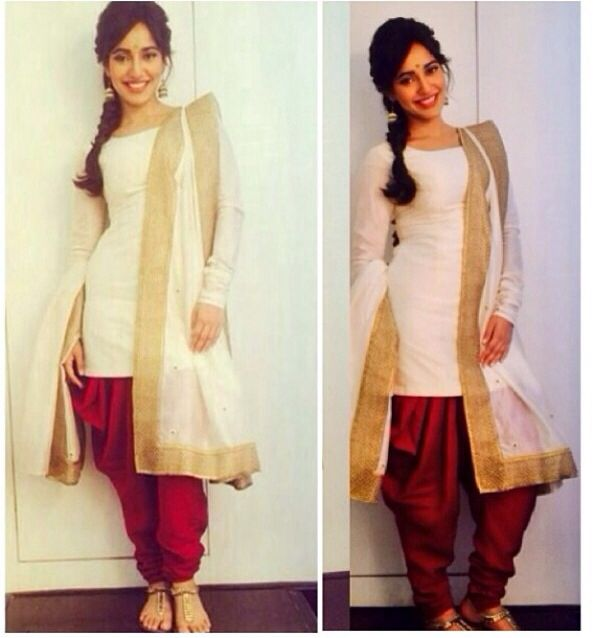 A new twist to the Salwar! Red and white punjabi suit with gold embroidery #punjabisuit