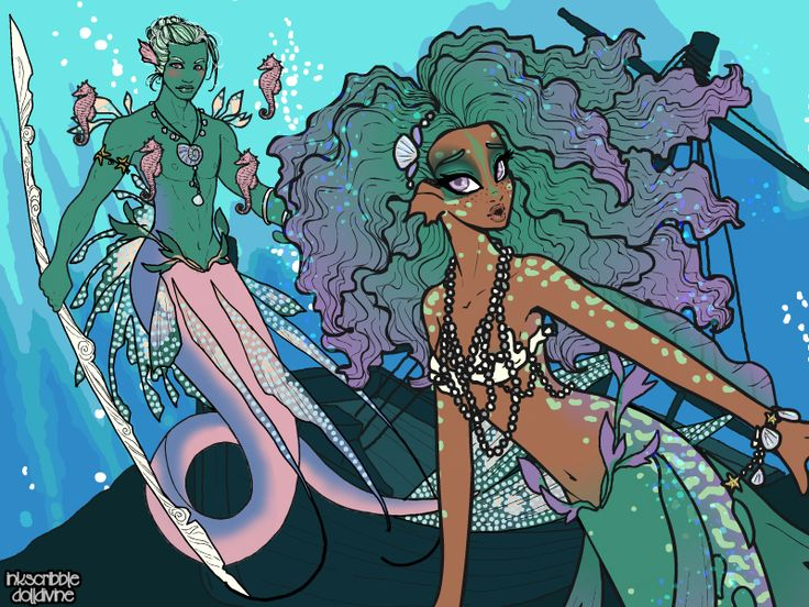 An ethereal mermaid and merman made in the new dress up game: http://www.dolldivine.com/merfolk.php