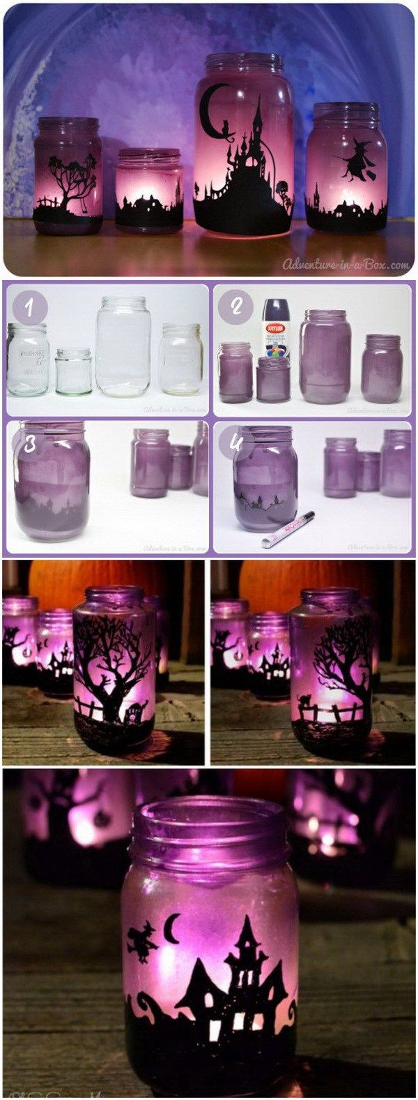 Enchanting Halloween Lanterns. Turn a bunch of Mason jars into enchanting lanterns to decorate your house for Halloween.