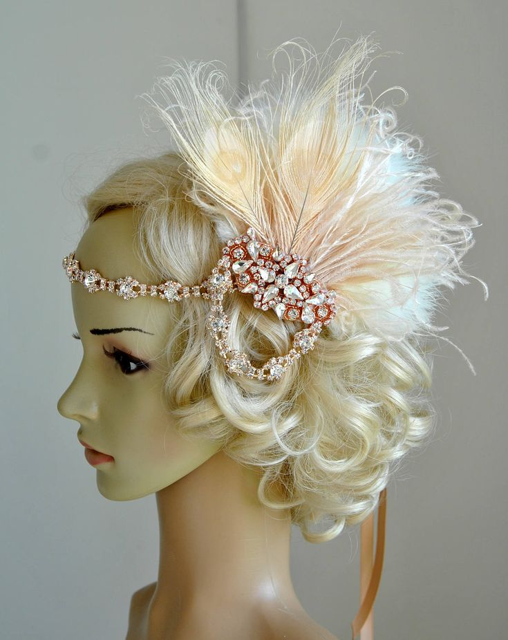 1920s Flapper Great  Leaf Tiara Pearl Rhinestone Headband Rose Gold