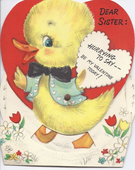 82 best vintage valentine images on pinterest valentine day cards v18 vintage valentine greeting card by hallmark die cut mechanical duck m4hsunfo Choice Image