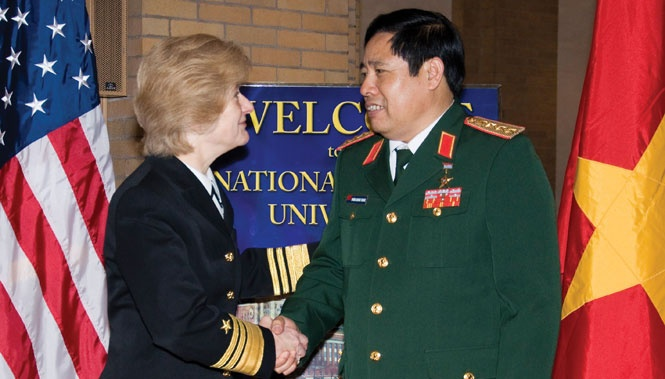 NDU President Vice Admiral Ann Rondeau welcomes General Phung Quang Thanh, Minister of Defense, Vietnam, to NDU, December 14, 2009 [NDU]: President, Ann Rondeau, Issue 65, Force Quarterly, December 14, 2009 Ndu, General Phung, Admiral Ann