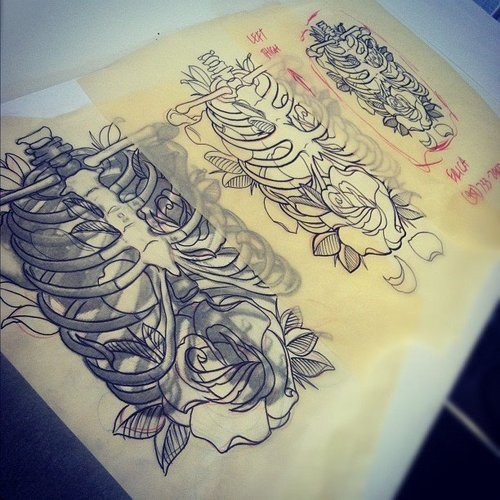 Rib Cage With Rose Tattoo Design. #tattoo #tattoos #ink