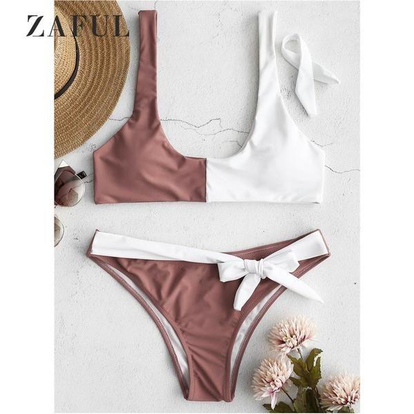 8826317cc6 ZAFUL Bowknot Two Tone Bikini Set Patchwork Swimwear Women Swimsuit Sexy  Low Waist Scoop Neck Color Block Bathing… #Discounts #BestPrice