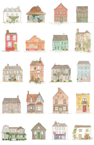 Houses Art Print - I could recreate this poster with fairy princess castles!