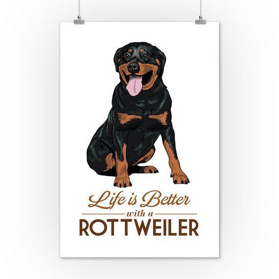 Rottweiler Life Is Better White Background 6 Sizes Art Prints