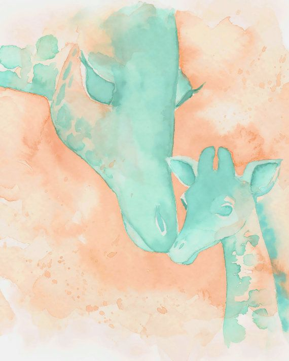 Minty Blue and Peach Mom and Baby Giraffe Print  by Katrina Pete    ********  PRINT SIZE 8x10 INCHES  ********      My paintings and prints
