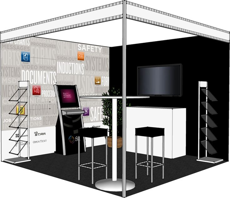A 3d mockup of the booth we produced to help with layout for Trade show floor plan design