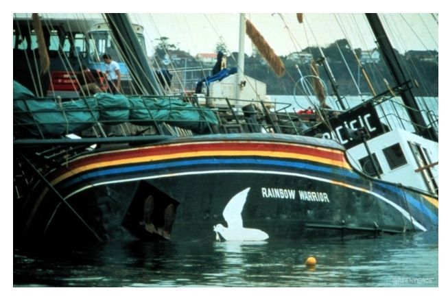 The Rainbow Warrior was active in supporting a number of Greenpeace protest activities against seal hunting, whaling and nuclear weapons testing during the late 1970s and early 1980s. She was sunk in harbour in New Zealand by operatives of the French intelligence service (DGSE) on 10 July 1985,  killing photographer Fernando Pereira.