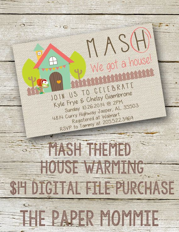 Mash themed house warming invite cute adorable by for How to organize a housewarming party