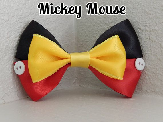 [New design!] Mickey Mouse | Disney ribbon hair bow barrette by EclecticGeekette, $6.75