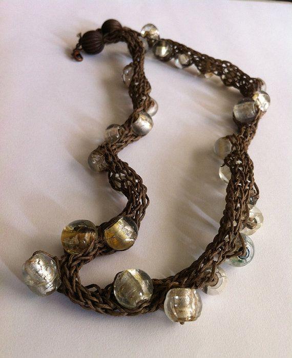Brown Wax thread knitting necklace Glasss bead by bonmokishop