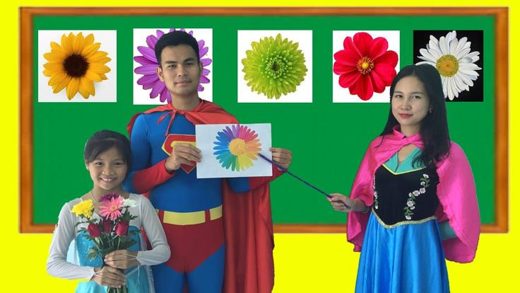Spiderman and Frozen Elsa Baby AT SCHOOL LEARN COLORS WITH FLOWERS! Anna...