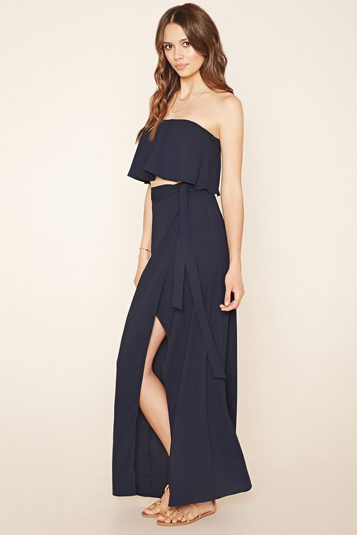 Forever 21 Contemporary - A woven maxi skirt featuring a self-tie accent at the front of its waist, a concealed side zipper, a high slit, and a tulip hem.
