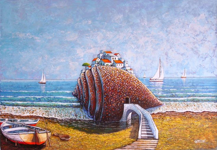 """Mediterraneo"" cm.70x100 acrilico su tela www.giuseppesticchi.it"