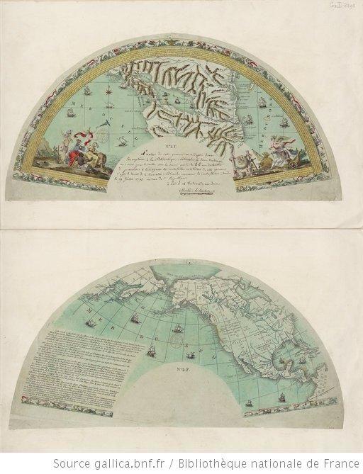 [Deux gravures pour un éventail. carte du lac Nicaragua et carte de l'Amérique du Nord avec le Pacifique, pour soutenir le projet de Martin ...