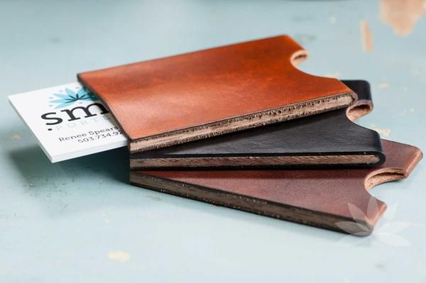 Leather Business Card Holder, honey, dark brown, and black colors