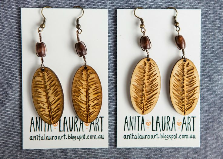 Pine-needle earrings - Laser cut on Wood - Anita Laura Art