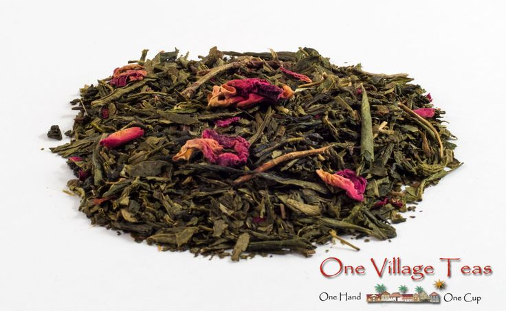 "Organic Kyoto Cherry Green Tea  In Japan the cherry tree blossoming is quite the event, known as the ""spirit of the season"". An exotic flavour of cherry with subtle rose hints gives this tea a taste that is both rich and sweet, a popular tea anytime of year.  www.onevillageteas.com"