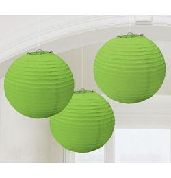Zelený guľatý lampión - 24 cm, 3 ks/bal