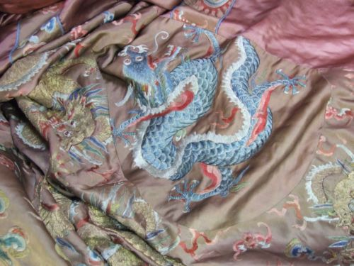 Antique-Chinese-Embroidered-Brown-Silk-Daoist-Priest-Ceremonial-Dragon-Robe