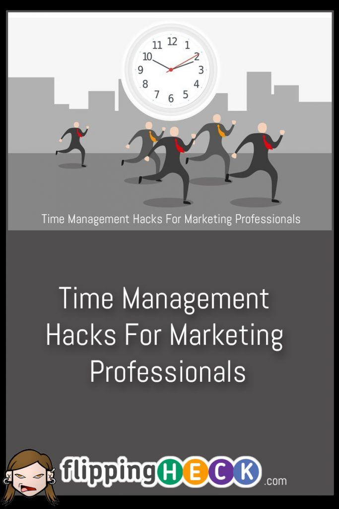 Time Management Hacks For Marketing Professionals by Erica Silva While this article has some tips that are specific to marketing professionals, Erica Silva gives us a lot of great ideas on how to maximize your productivity with the limited time we have available to us. View Full Article: https://www.flippingheck.com/time-management-hacks-for-marketing-professionals?utm_content=buffer3b226&utm_medium=social&utm_source=pinterest.com&utm_campaign=buffer
