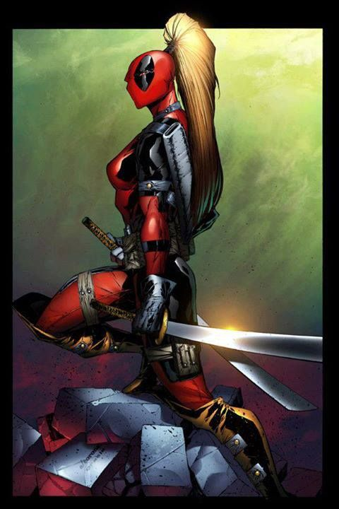 Lady Deadpool: if you insult us girls you better pray she's out of ammo..... actually that wouldn't help either, your dead can't deny it. now this I like! @Avian Cox Lisenbee