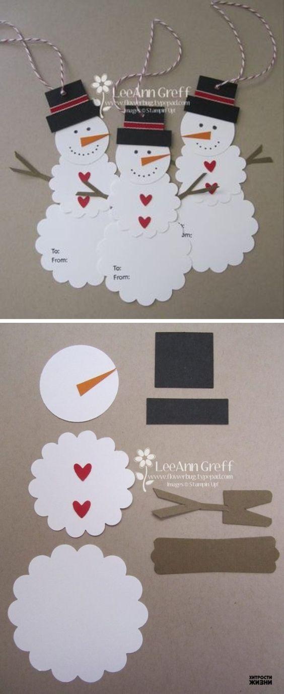 DIY Cute Paper Snowman Gift Tag.: