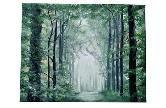 Original oil painting on canvas  Somewhere in the forest