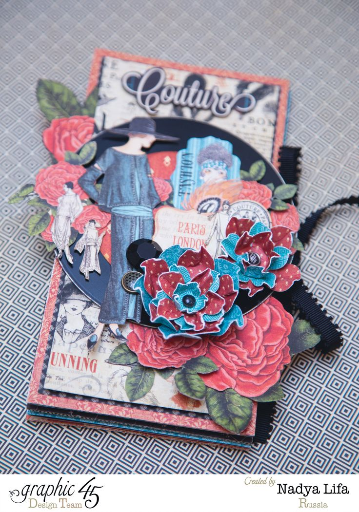 How to Create a Mini Album by Nadya using Couture #Graphic45 #tutorials