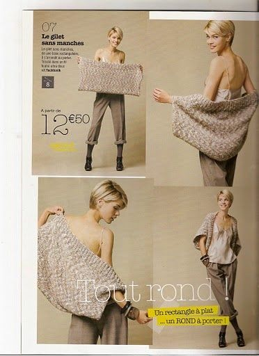 knit a large rectangle and then sew up sides.leave opening for arms..  voila!
