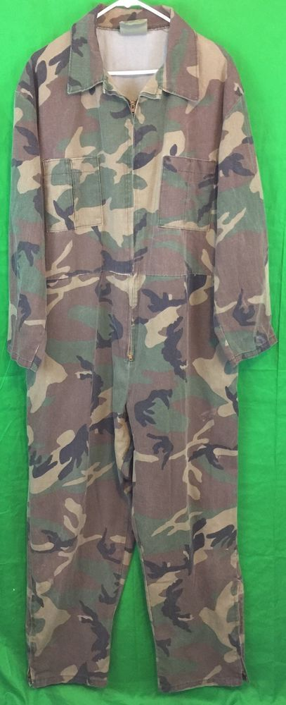 Military Issue Woodland Camouflage Mechanics Coveralls XL Regular | eBay