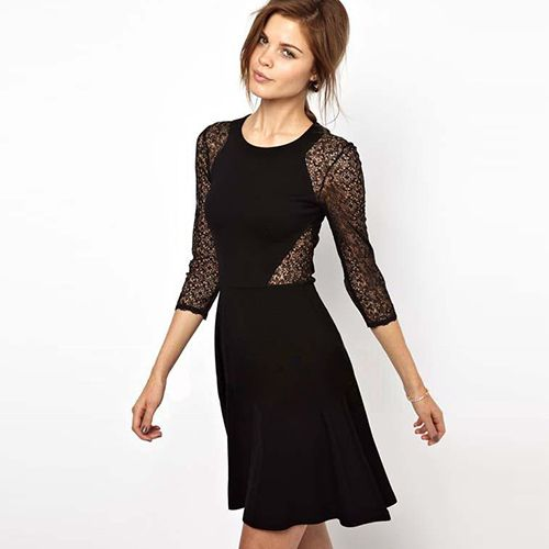 Sexy Hollow Out Lace Spliced 3/4 Sleeve Slim Fit Dress