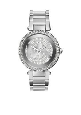 Michael Kors Silver Womens Mid-Size Silver Tone Stainless Steel Parker Logo Three-Hand Glitz Watch