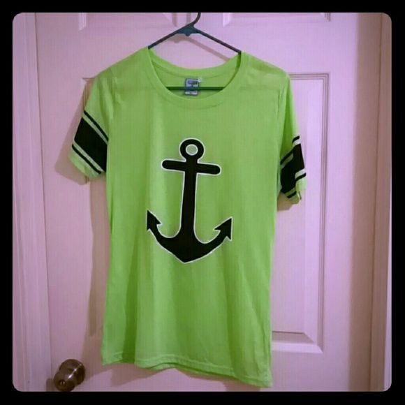 Neon Anchor Shirt Neon green anchor tshirt with stripes on sleeves Exist Tops Tees - Short Sleeve
