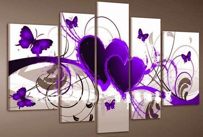 5 stuks / set rood hart Liefde Paarse vlinder, pop. woning MUUR moderne inrichting kunst schilderij