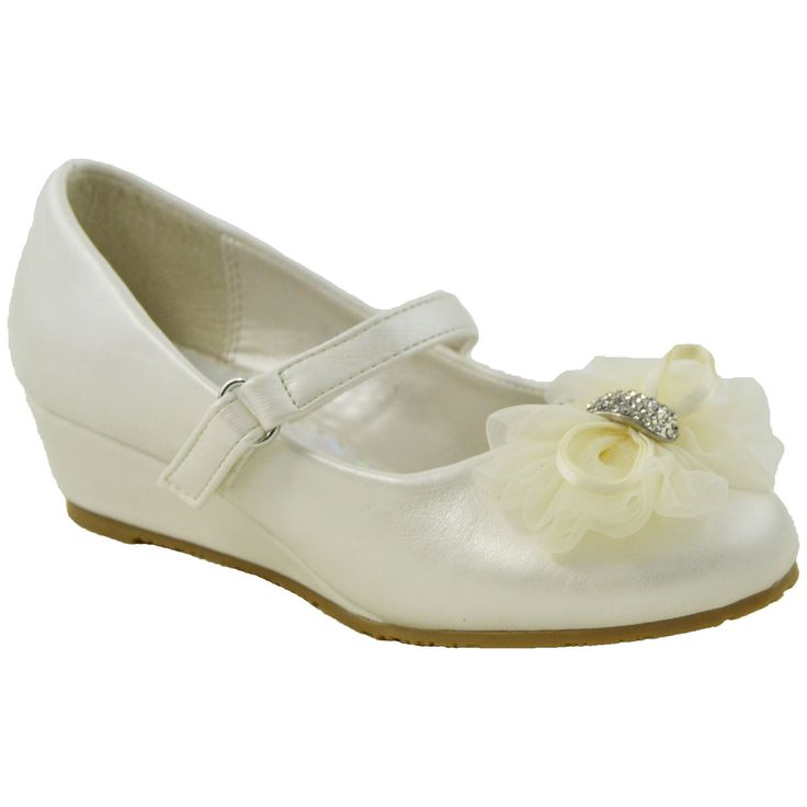 Kids Dress Shoes Rhinestone Flower Accent Low Wedge Slip On IVORYPU