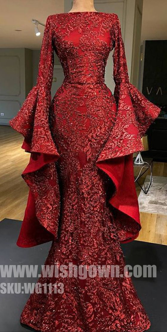 Gorgeous Affordable Long Sleeves Mermaid Evening Long Prom Dresses, WG1113 #promdress #promdresses #longpromdress #longpromdresses #eveningdress