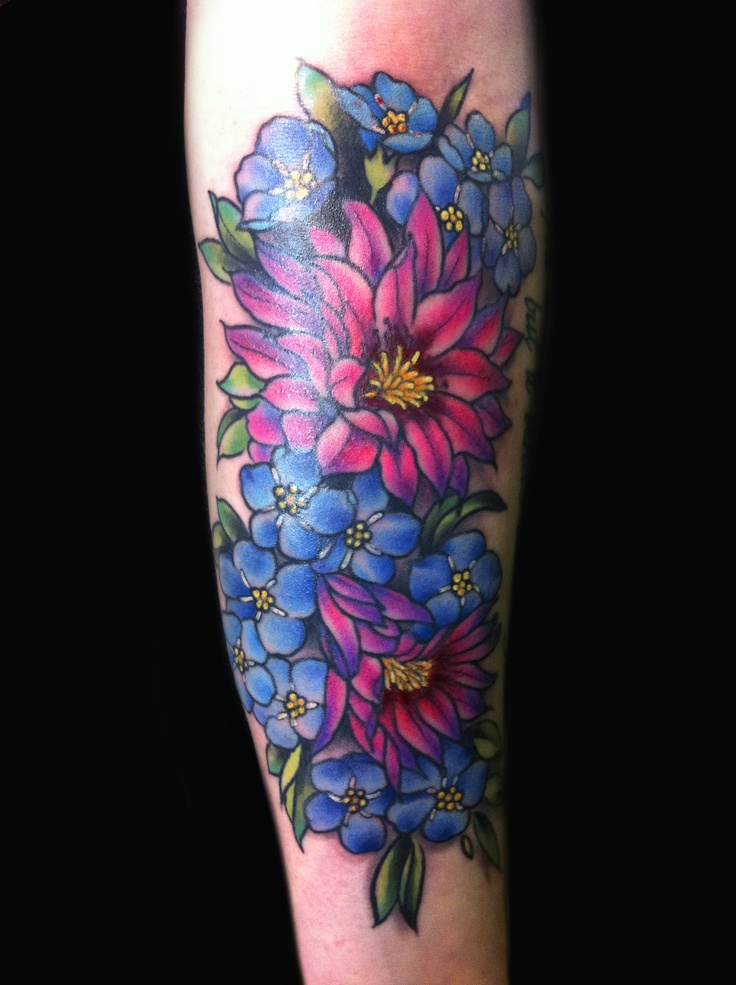 Girly desert flower tattoo by jessi lawson tattoos for Beautiful colorful flower tattoos