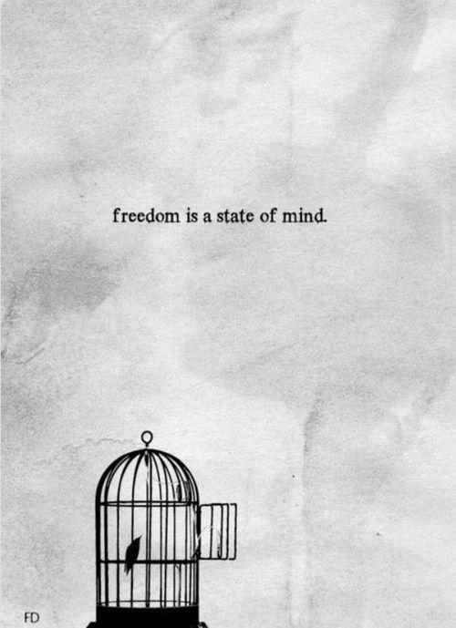 Onafhankelijkheid! Een groot deel van vrijheid krijg je door ruimte te maken in je hoofd. Soms lijken je gedachten je op te sluiten. Je zit er letterlijk in gevangen. Besef dat je zelf je gedachten kiest. Echt altijd! Ook al ben je je er niet van bewust, niemand anders dwingt je daarin. Vrijheid betekent loslaten. Loslaten van stress, spanning, onmacht, boosheid, frustratie en negatief denken. Wat blijft dan over? Voornamelijk veel ruimte! Ruimte voor positieve gedachten