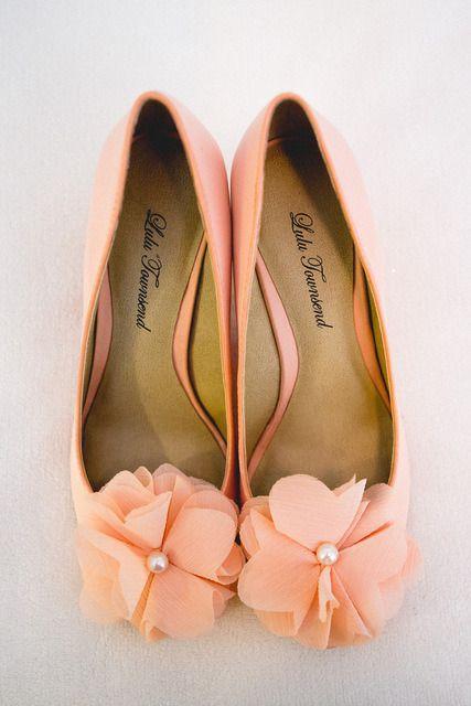 peach bridal shoes