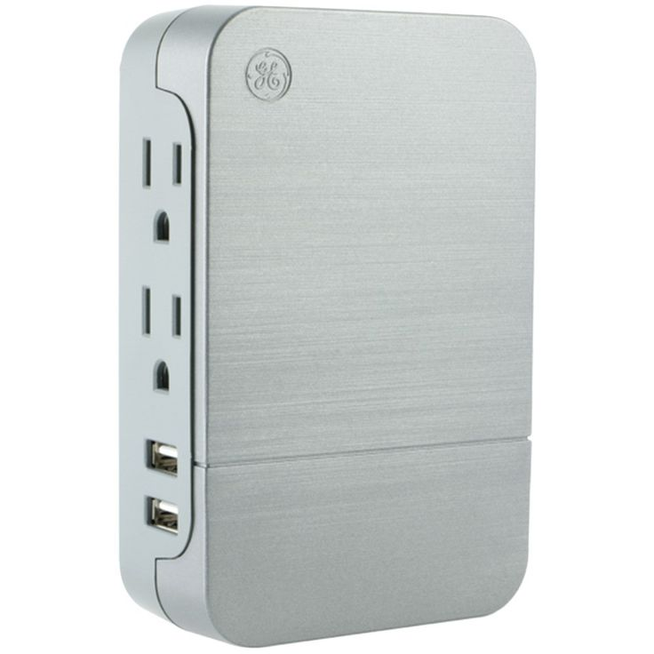 General Electric 33642 2-Outlet Surge-Protector Wall Tap with 2 USB Ports