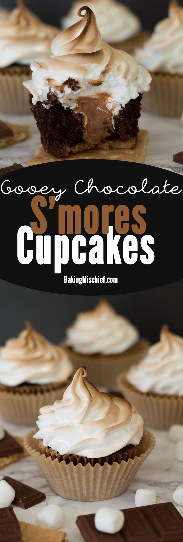 "These are the perfect s'mores cupcakes: a graham cracker base, soft and decadent chocolate cake, gooey Hershey's chocolate buttercream center, and toasted marshmallow frosting. Recipe includes nutritional information. From <a href=""http://BakingMischief.com"" rel=""nofollow"" target=""_blank"">BakingMischief.com</a>"