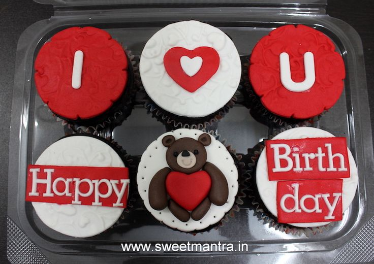 Love theme customized designer cupcakes for wife's birthday at Pune
